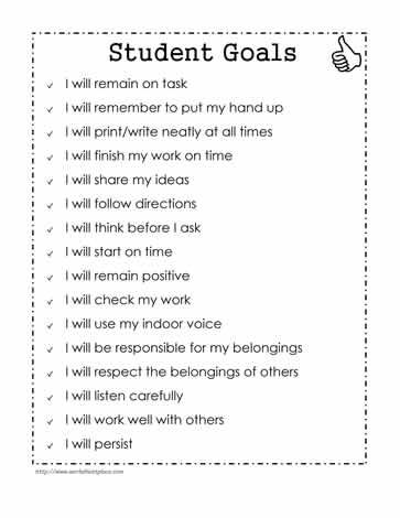 Sample Goals for Students