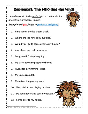 Subjects and Predicates Worksheets Worksheets