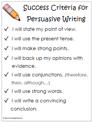 persuasive writing worksheets success criteria persuasive writing