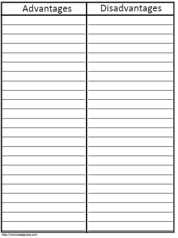 T-Chart With Lines Worksheets