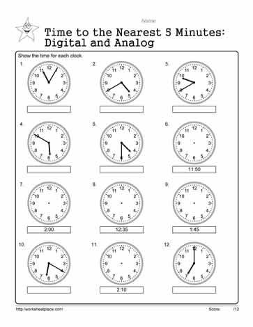 analog and digital worksheets. Black Bedroom Furniture Sets. Home Design Ideas