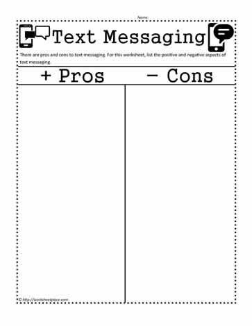the pros and cons of texting Question: what are the pros and cons of using instant messaging answer: what the advantages are: fast: instant messages (ims) appear on the recipient's screen as soon as you send them.