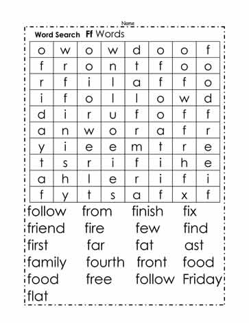 Words Beginning with F Wordsearch