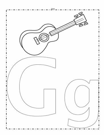 the letter g coloring page worksheets