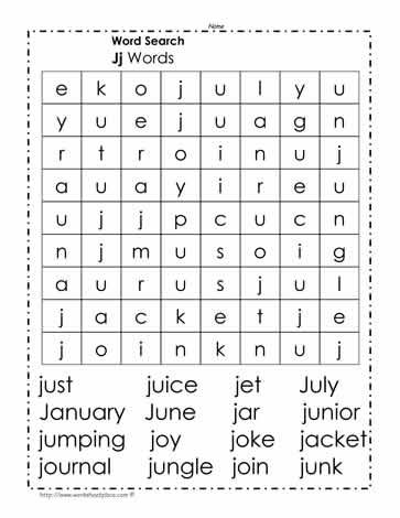 Words Beginning with J Wordsearch
