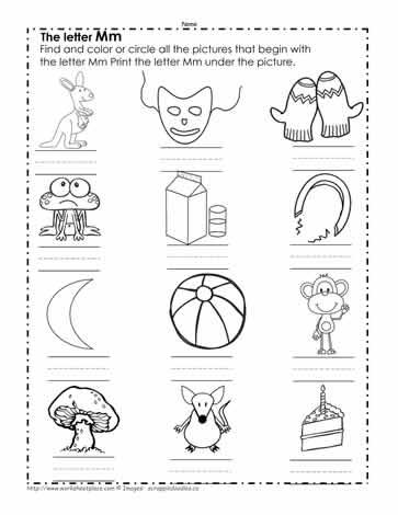 Color The M Pictures Worksheets - Get Coloring Worksheet Letter M Worksheets For Kindergarten PNG