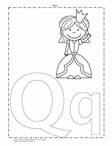 The Letter Q Coloring Page Worksheets