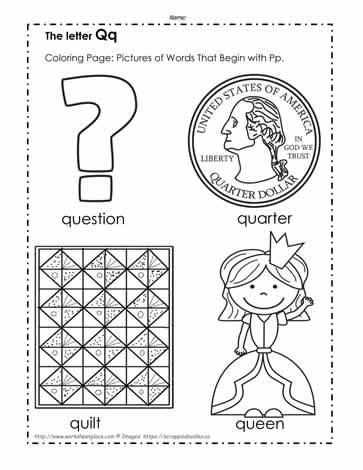 three letter q words the letter q coloring pictures worksheets 25273 | The%20Letter%20Q%20Coloring%20Pictures