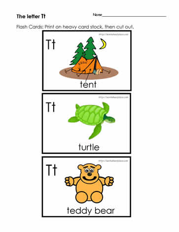 graphic about Letter T Printable named The Letter T Flashcards Worksheets