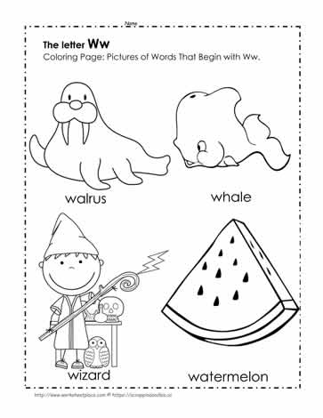 The Letter W Coloring Pictures Worksheets