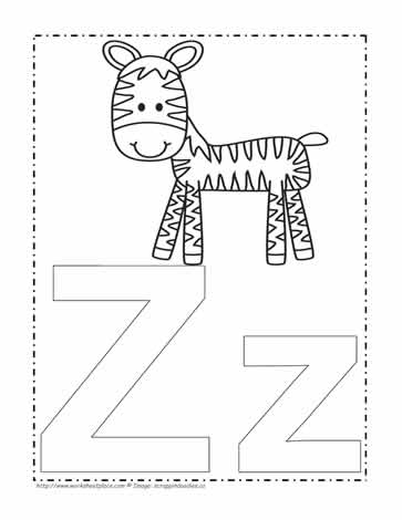 The Letter Z Coloring Page Worksheets