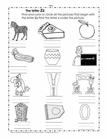 Color the Z Pictures Worksheets
