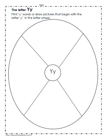 The Letter Y Picture Wheel Worksheets