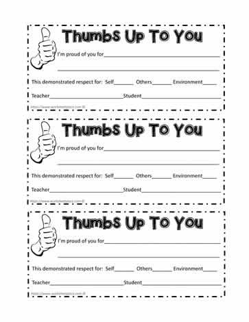 Thumbs Up Behavior Certificates
