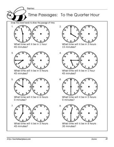 Time Passages to the Quarter Hour Worksheets