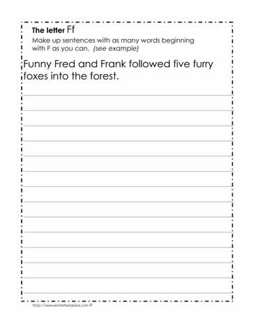 Tongue Twisters for the Letter F Worksheets
