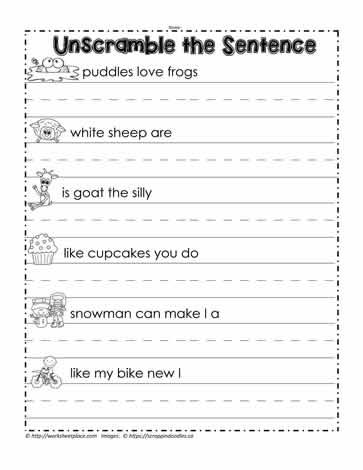 Make Sentences Using Words For Kids