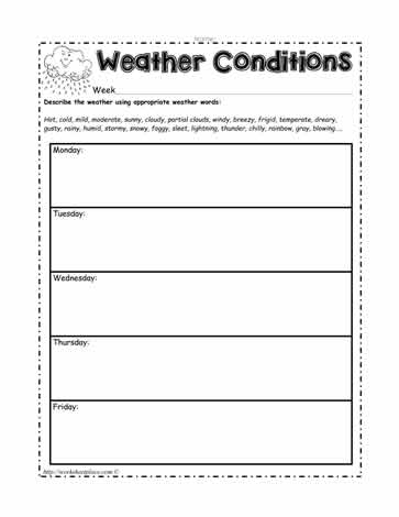 daily weather conditions worksheets. Black Bedroom Furniture Sets. Home Design Ideas