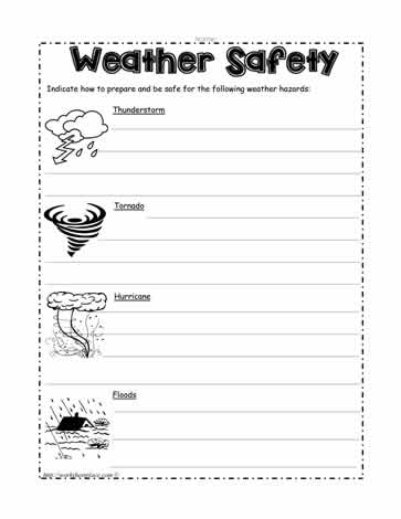 weather safety worksheets. Black Bedroom Furniture Sets. Home Design Ideas