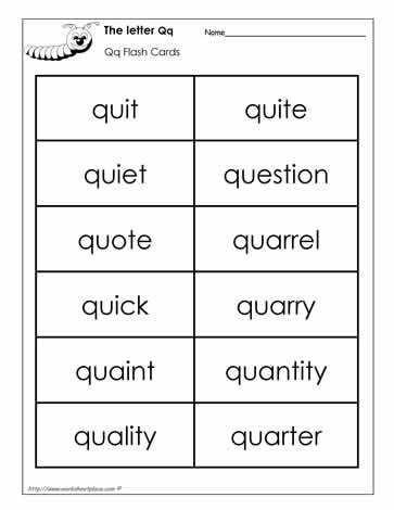 q letter words word wall words for the letter q worksheets 24174
