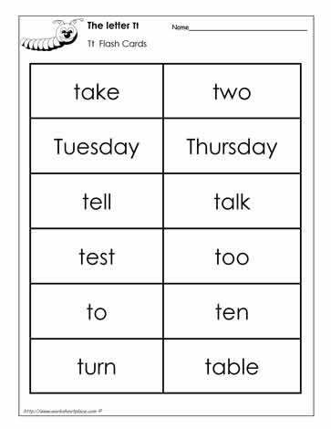 Word Wall Words for the Letter T