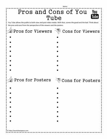 Pros and Cons of YouTube Worksheets
