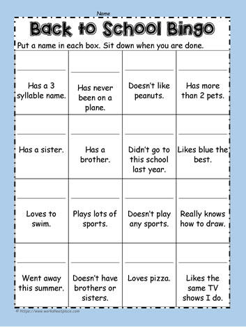 back to school bingo student scavenger hunt worksheets. Black Bedroom Furniture Sets. Home Design Ideas