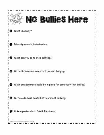 No Bullies Here Worksheet