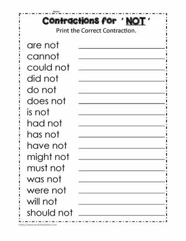 The Not Contractions (have not, will not etc.)