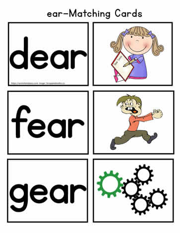 photo about Printable Word Wall Cards With Pictures identified as ear Matching Card Worksheets