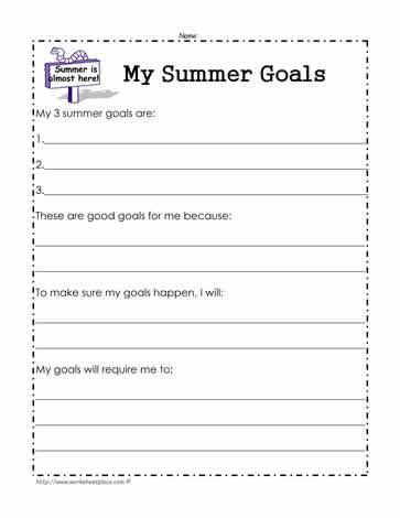 Worksheets My Goals Worksheet my summer goals worksheetworksheets worksheet