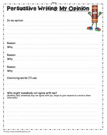 persuasive writing opinion worksheet worksheets. Black Bedroom Furniture Sets. Home Design Ideas