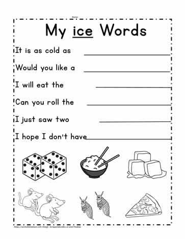ice Word Family Worksheet