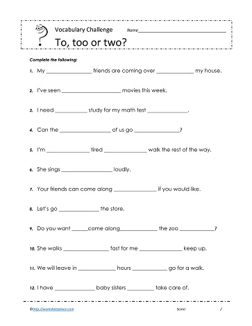 To, to or two Worksheets