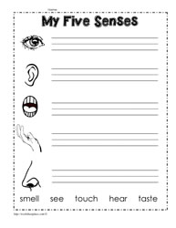 Download Printable 5 Senses Worksheets For Kindergarten Background