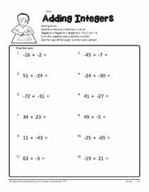 math worksheet : adding integers worksheetsworksheets : Addition Of Integers Worksheet