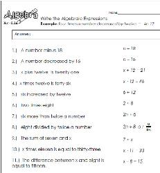 Write Algebraic Expressions Worksheets