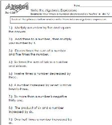 writing algebraic expressions 6th grade pdf