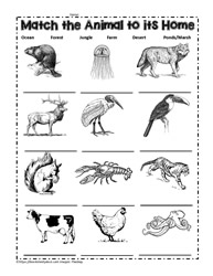Worksheets Animal Habitats Worksheets animal habitat worksheets match the animals to their habitat