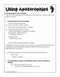 Apostrophe-Rules, How to use the Apostrophe