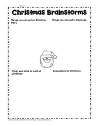 Christmas Brainstorms, Christmas Worksheet