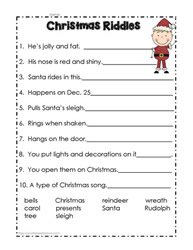 Christmas Riddles, Christmas Worksheets