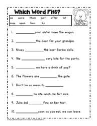 First Grade Reading: Dolch Worksheets