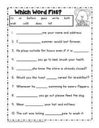 Second Grade Reading Worksheets