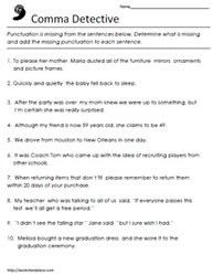 Comma Worksheets