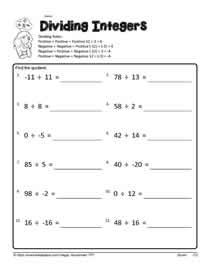 dividing integers worksheets dividing integers