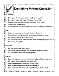 explanatory essay checklist Psms holiday packet: operation write now expository writing checklist introduction 1 did you use 2 to 3 sentences to introduce the topic 2 did you introduce your.