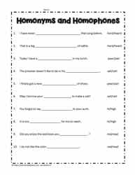 Homonym and Homophone Worksheets