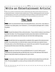 entertaimnet news how to write