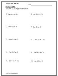 Multiply Binomials Worksheets